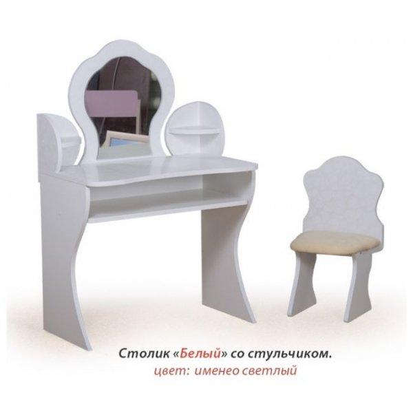 Дамский столик Вальтер белый + стульчик