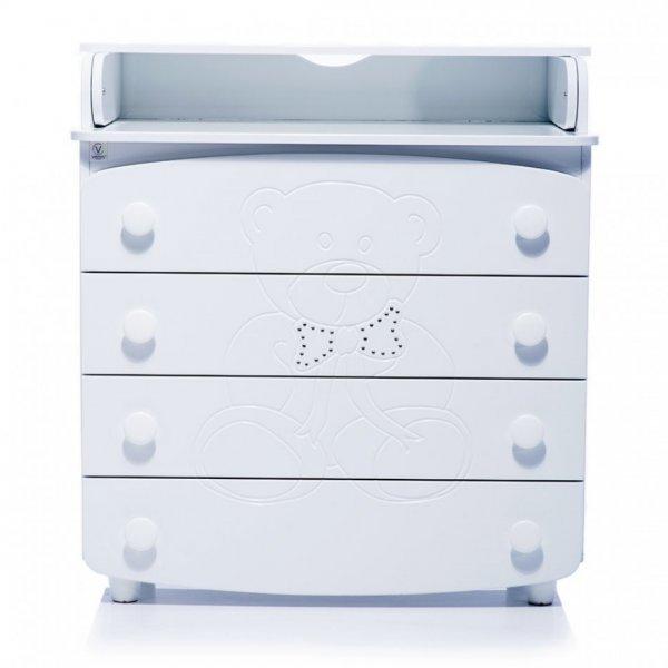 Комод-пеленатор Верес мишка со стразами (цвет: белый)