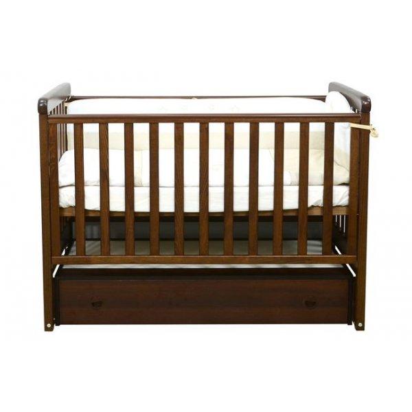 Детская кроватка Соня ЛД12 (маятник продольный,ящик) орех Верес