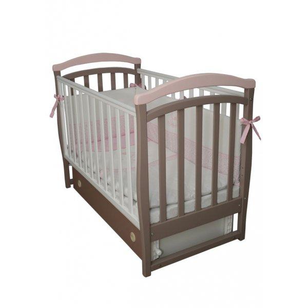 Детская кроватка Верес Соня ЛД6 маятник с ящиком капучино-розовый, арт. 06.12