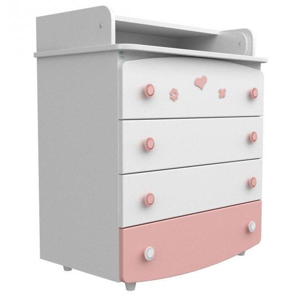 Комод-пеленатор Верес бело-розовый