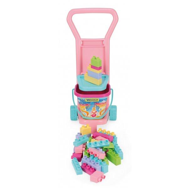 Детская тележка с конструктором (для девочек)